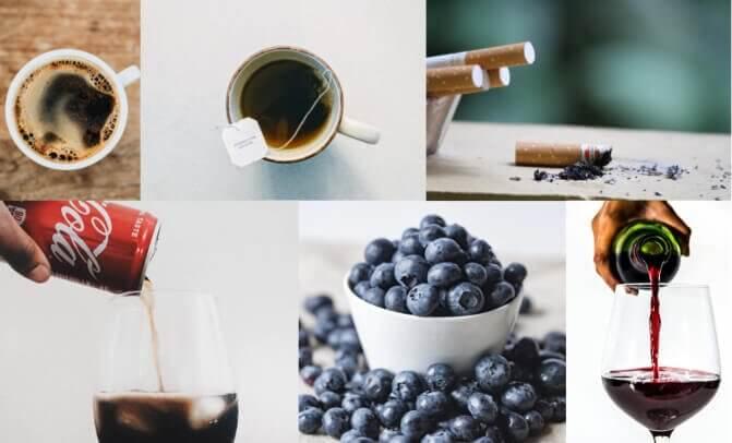 Bleka tänderna undvik mat och dryck